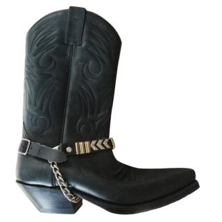 Sancho black leather western boots