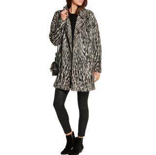 Maje Malavida leopard-print knitted coat