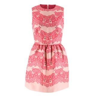Red Valentino Pink Floral Jacquard Mini Dress
