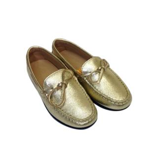 Tod's Metallic Gold Kid's 6 Years Loafers