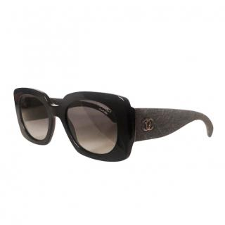 Chanel Black Denim Rectangle Sunglasses