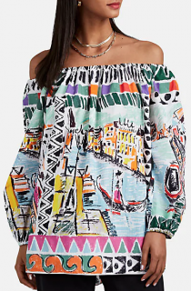 Prada Venice print off the shoulder blouse