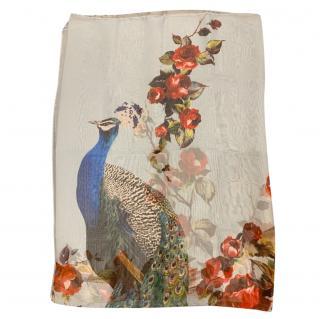 Dolce & Gabbana silk peacock print floral wrap scarf