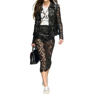 Dolce & Gabbana Black Lace Fitted Skirt & High Rise Pants