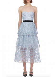 Self-Portrait Blossom Mesh Embellished Midi Dress