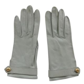 Chanel Pale Blue Leather Gloves