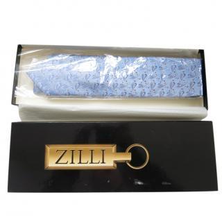 Zilli Blue Silk Printed Tie