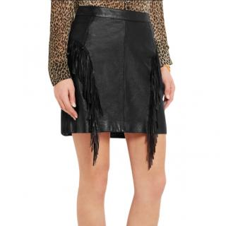 Saint Laurent Fringed leather mini skirt