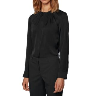 Hugo Boss Silk Blend Black Ruched Top