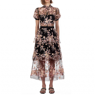 Self Portrait Short Sleeve Floral Mesh Midi Dress