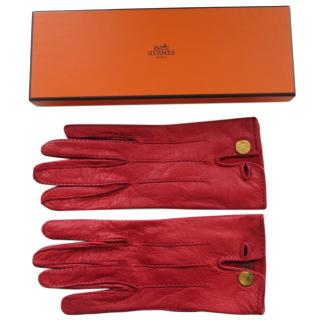Hermes Vintage Red Leather Gloves