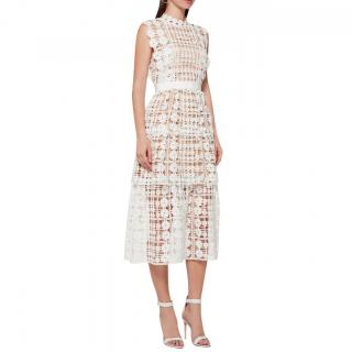 Self-Portrait White Floral Lattice Lace Dress