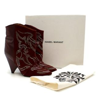 Isabel Marant Memphis Burgundy Suede Studded Boots