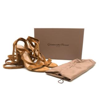 Gianvito Rossi Cognac Suede Lace-Up Sandals