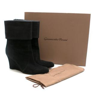 Gianvito Rossi Black Suede Wedge Ankle Boots