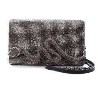Judith Leiber Crystal Embellished Snake Chain Clutch