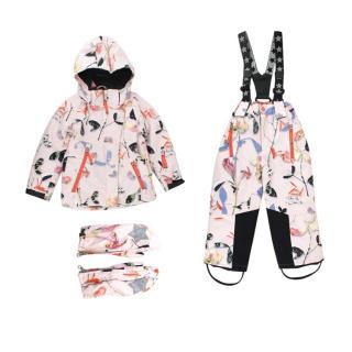 Molo Kids 4 Years Pink Printed Waterproof Snow Suit