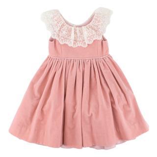Ralph Lauren Girls Pink Tulle Velvet Dress With Lace Trim