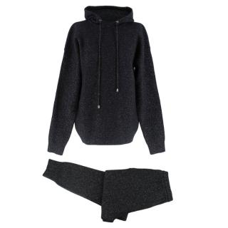 Markus Lupfer Black Lurex Knitted Cashmere Blend Loungewear Set