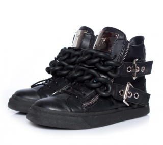 Giuseppe Zanotti Black Double Chain Leather High Top Sneakers