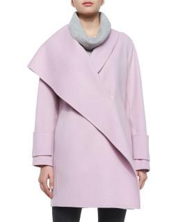 Vince Asymmetric Draped Wool Coat