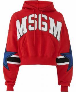 MSGM Red, White & Blue Logo Hoodie