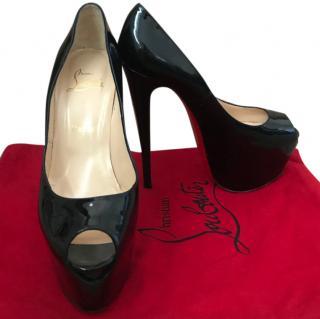 Christian Louboutin Black Patent Leather Peep-Toe 120 Pumps