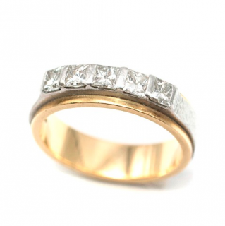 Bespoke Yellow Gold & Platinum Five Diamond Ring