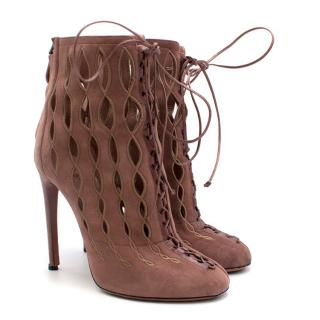 Alaia Goatskin Stiletto Lasercut Ankle Boots