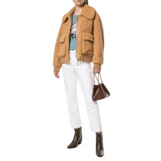 Markus Lupfer Tan Faux-Shearling Bomber Jacket