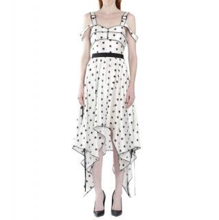 Self Portrait Ivory Star Print Asymmetric Dress