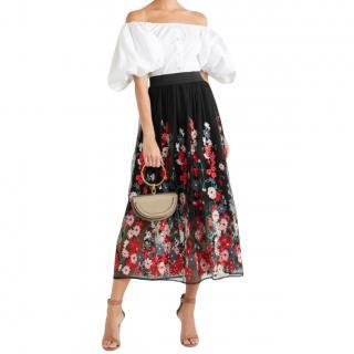 Maje Jamie embroidered tulle midi skirt