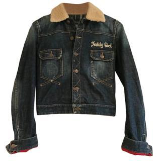 Dsquared Teddy Girl Denim Jacket W/ Shearling Collar