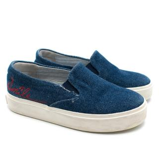 Bonpoint Girls 28 Denim Calligraphy Shoes