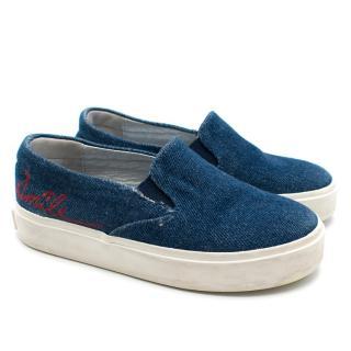 Bonpoint Girls 28 Denim Calligraphy Shoes