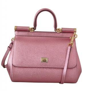 Dolce & Gabbana Miss Sicily Metallic Pink Top Handle