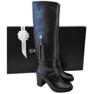 Chanel Black Zip Detail Long Black Boots