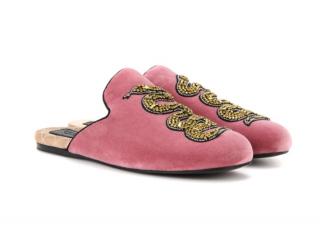 Gucci Pink Velvet Lawrence Crystal Snake Flats