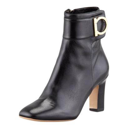 Salvatore Ferragamo Rupert Black Leather Ankle Boots