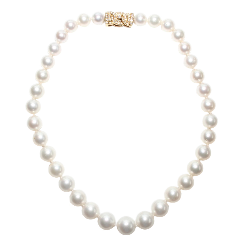Garrard Vintage South Sea Pearl Necklace W/ Diamond 18k Gold Bow