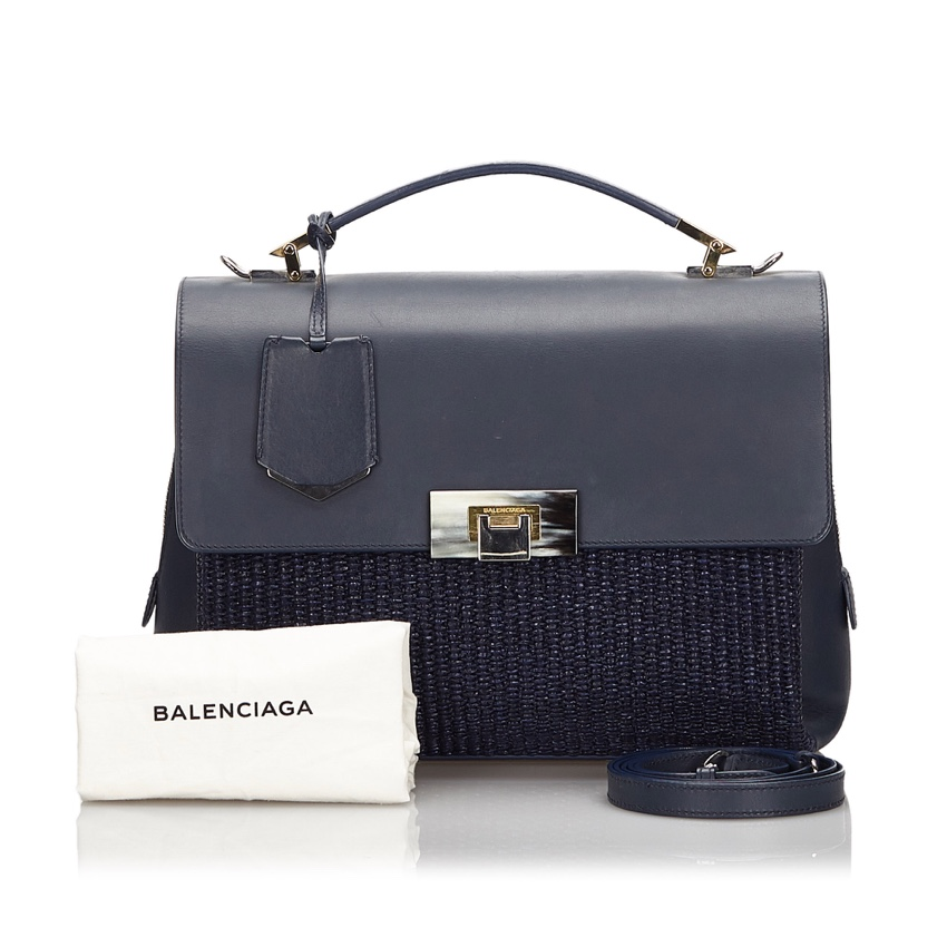 Balenciaga Straw & Leather Le Dix Satchel