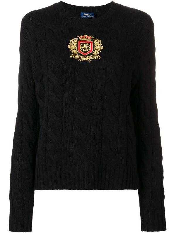 Polo Ralph Lauren crest cable-knit jumper