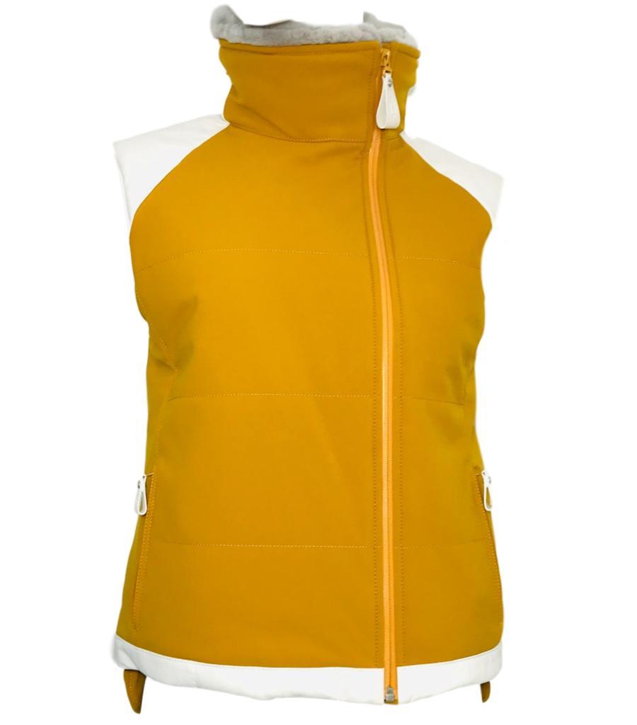 Hermes Mustard Yellow Mink Fur & Leather Gilet