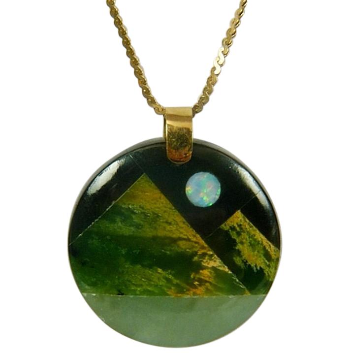 Bespoke Jade, Opal & Onyx Pendant Necklace
