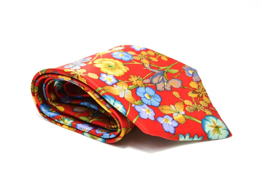 Kenzo Men's Red Floral Silk Tie