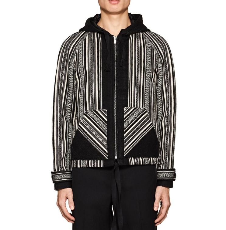 Saint Laurent Baja Folkloric-weave Wool-cotton Hooded Jacket