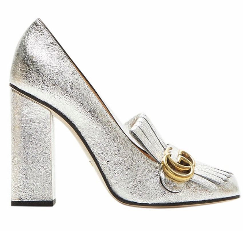 Gucci silver Princeton heeled loafers
