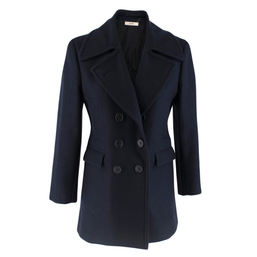 Celine Double Breasted Wool Navy Coat