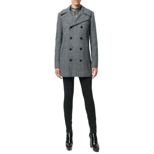 Saint Laurent Chevron Wool Caban Coat