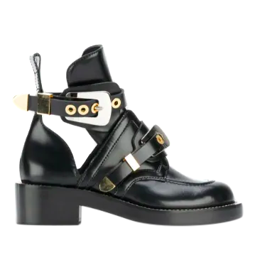 Balenciaga Black Apron Buckle Ankle Boots